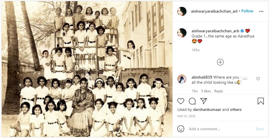 Aishwarya Rai Childhood School Photo