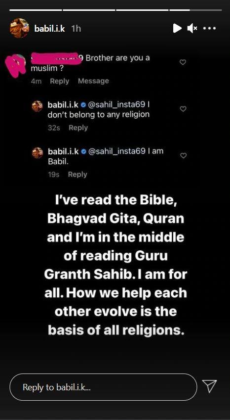 Babil Khan instagram story