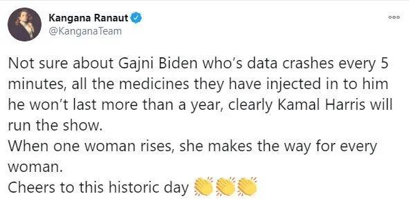 Kangna Ranaut on Biden