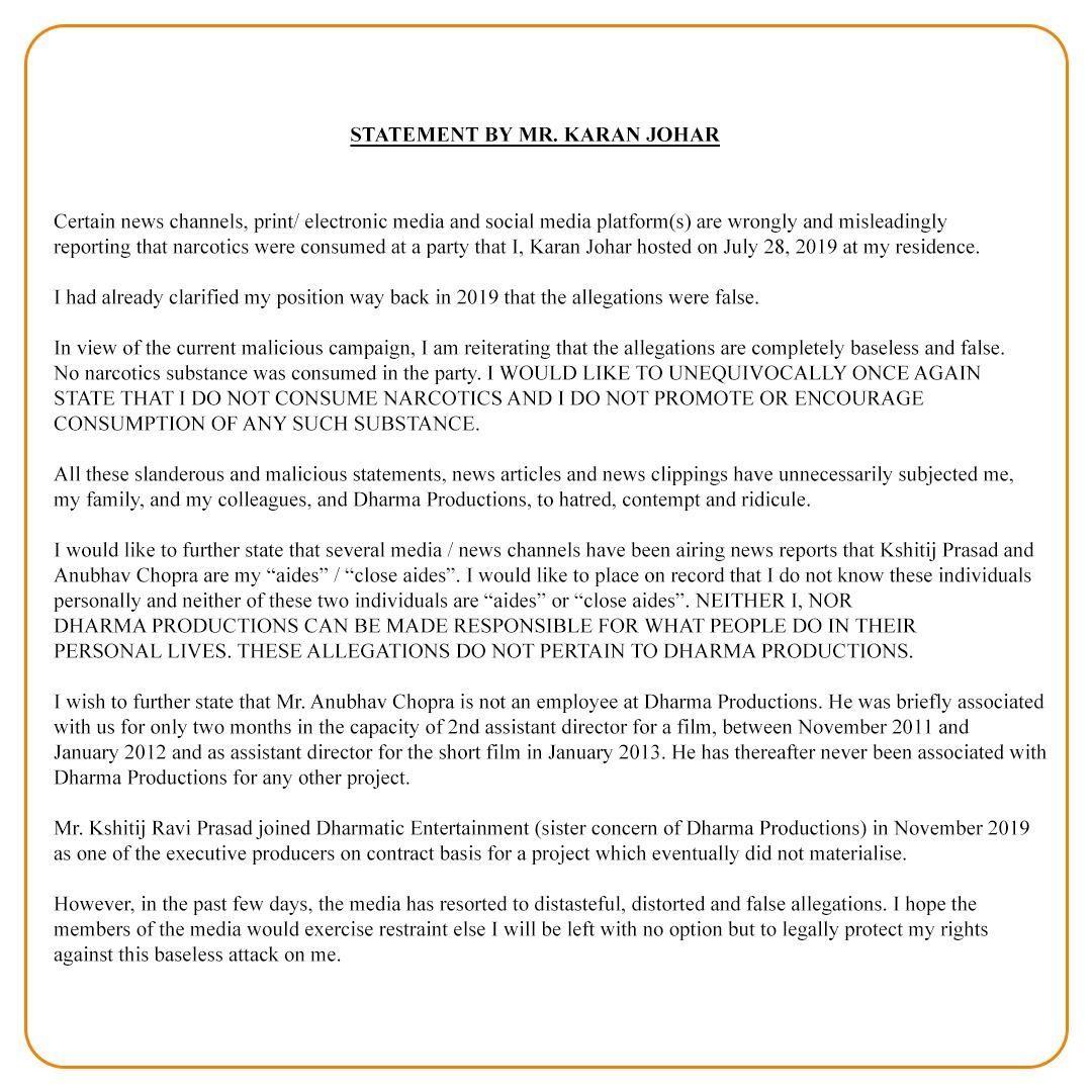Karan Johar statement on Drugs allegations