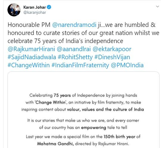 Karan Johar tweet for PM Modi to celebrate 75th Independence Day
