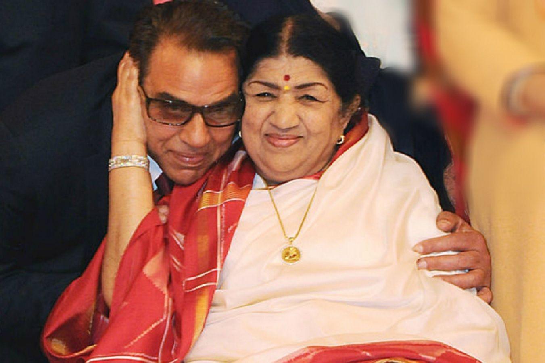 Lata Mangeshkar and Dharmendra