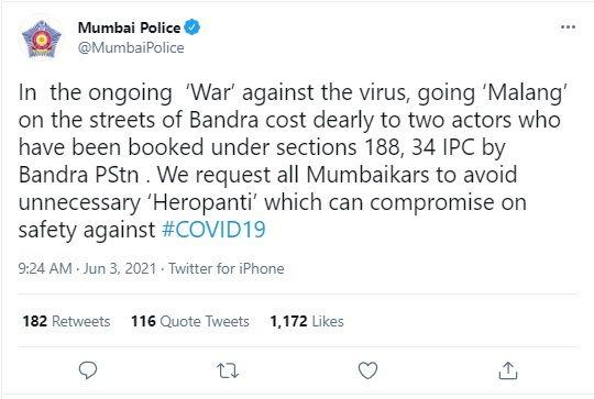 Mumbai Police tweet about Tiger Shroff and Disha Patani
