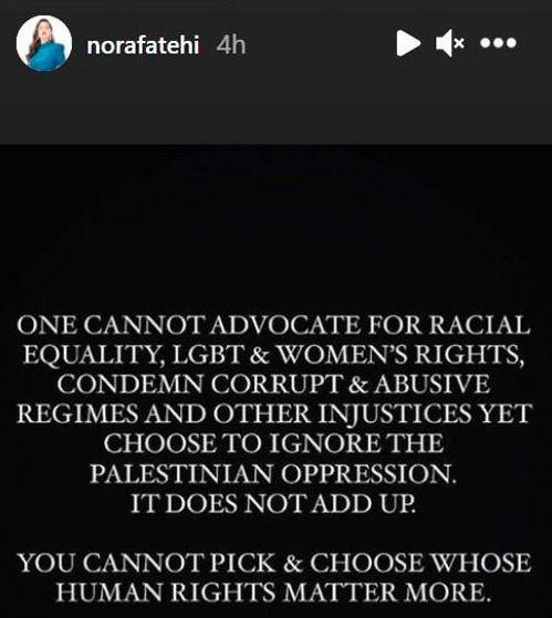 Nora Fatehi post on Isreal