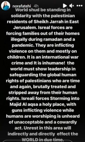 Actress Nora Fatehi post on Isreal