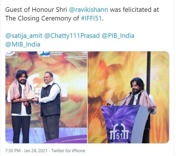 Ravi Kishan in Goa film festival