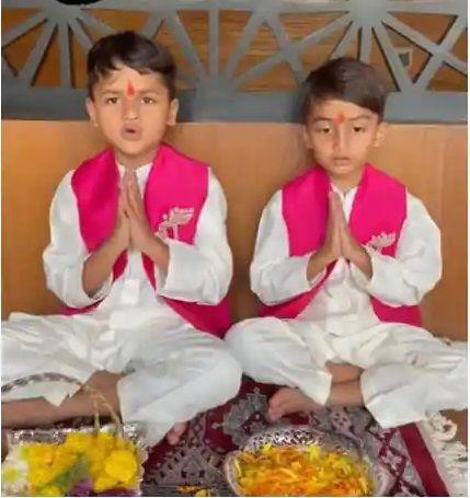 Ritesh Deshmukh son Riaan and Rahyl Deshmukh Ganesh Chaturthi celebration