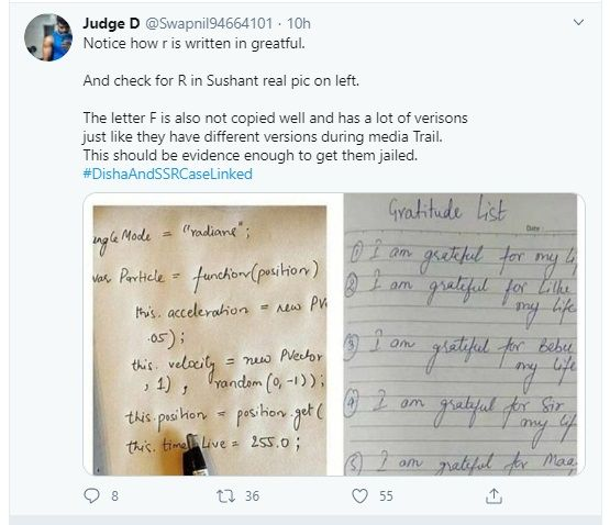 SSR hand writing fans reaction on Rhea note