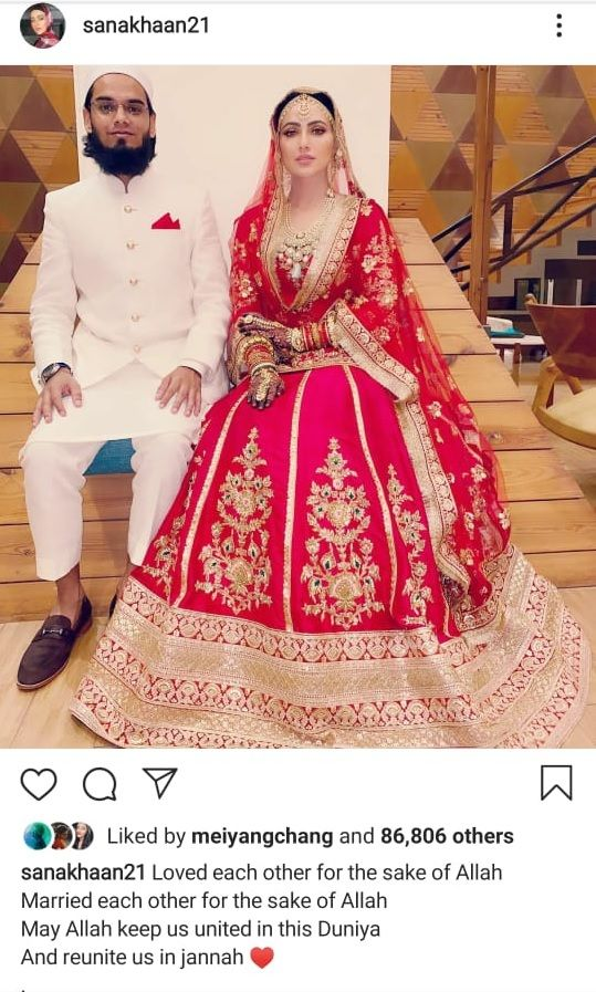 Sana Khan post after wedding