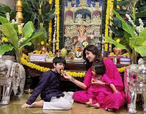 Shilpa Shetty children Viaan and Samisha Kundra Ganesh Chaturthi celebration