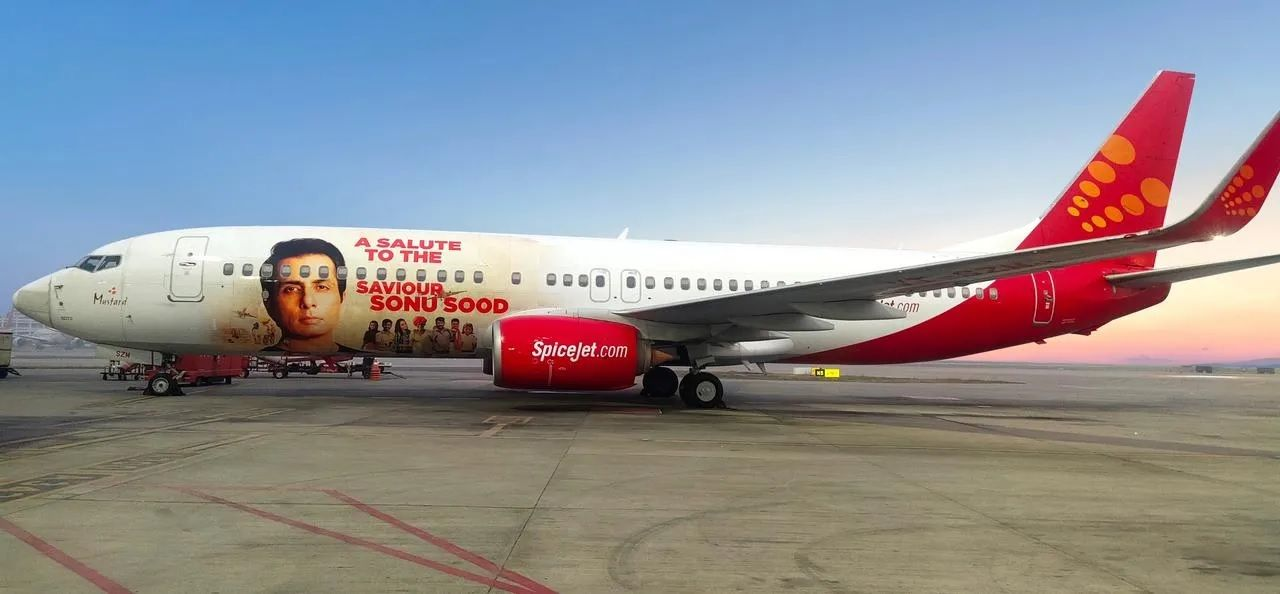 Sonu Sood photo on airline jet