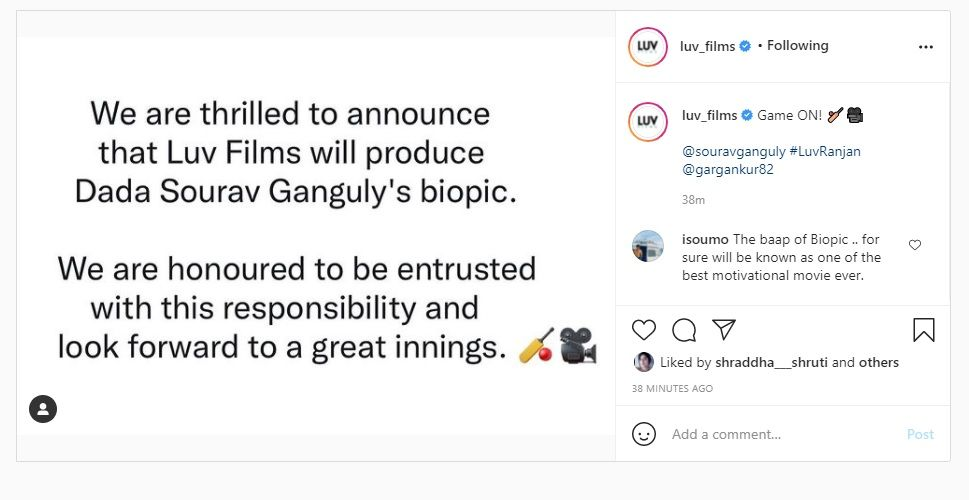 Sourav Ganguly Biopic Film announcement by LUV Films