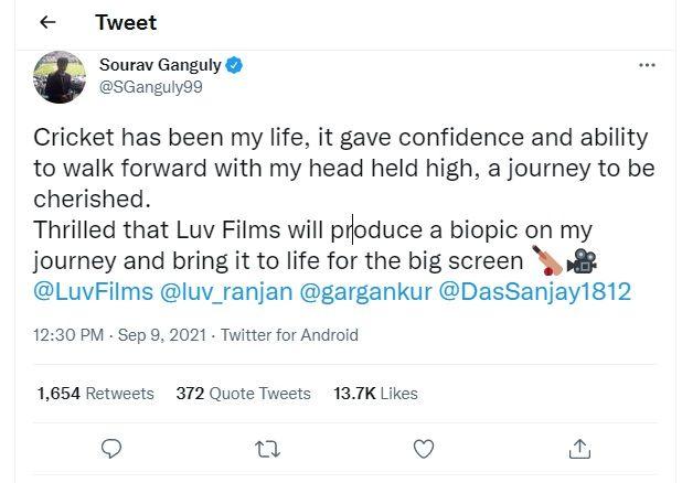Sourav Ganguly reaction on Biopic Film