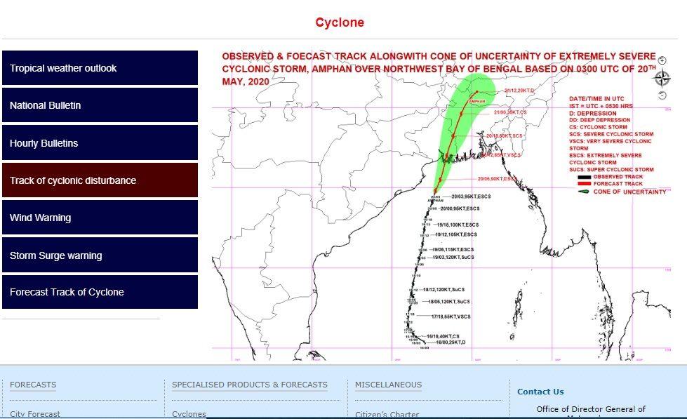 Amphan Cyclone satellite image
