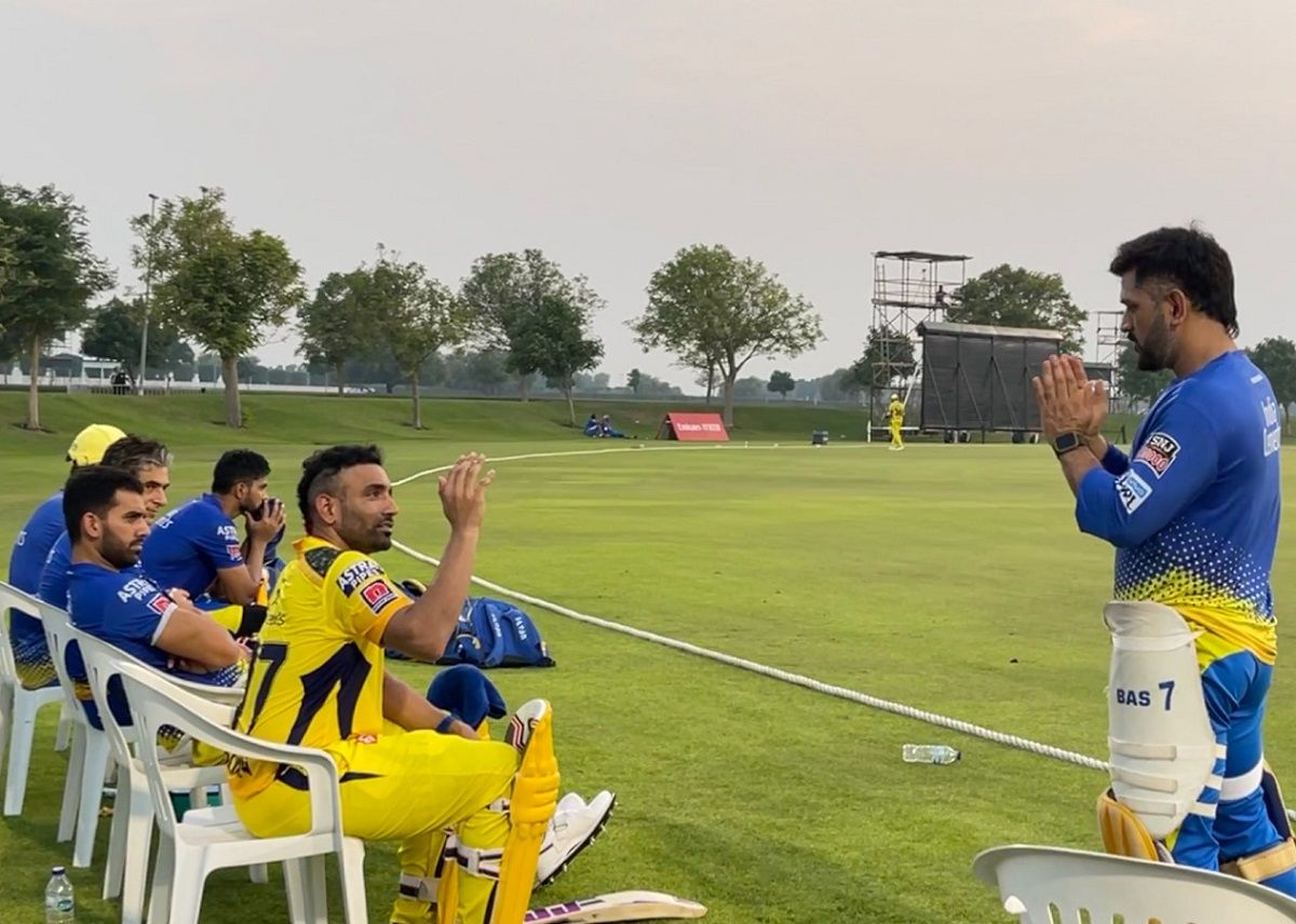MS Dhoni with Chennai Super Kings in UAE