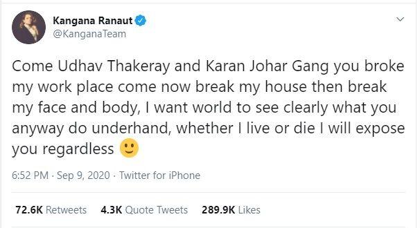 kangna tweet on Udhhav and Karan Johar