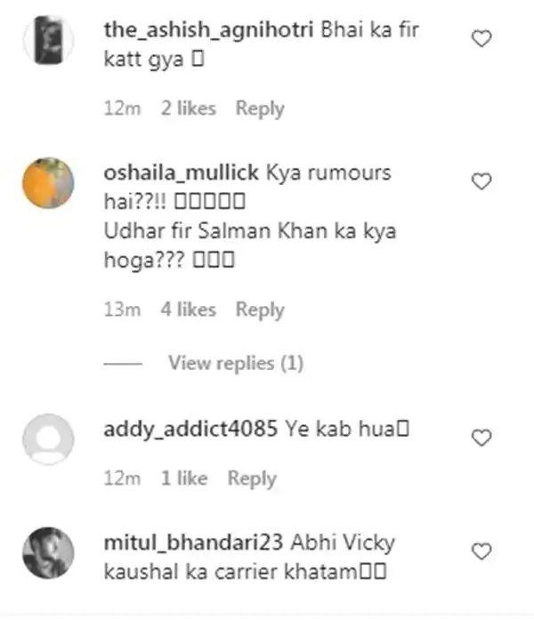 katrina vicky engagement rumor comments for Salman Khan