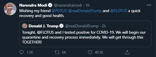 Modi tweet trump