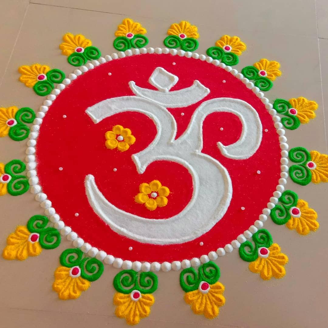 sawan rangoli design