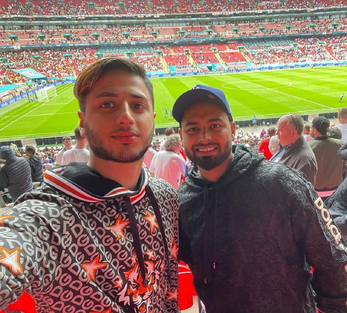 Rishabh Pant with a friend watching football match in England