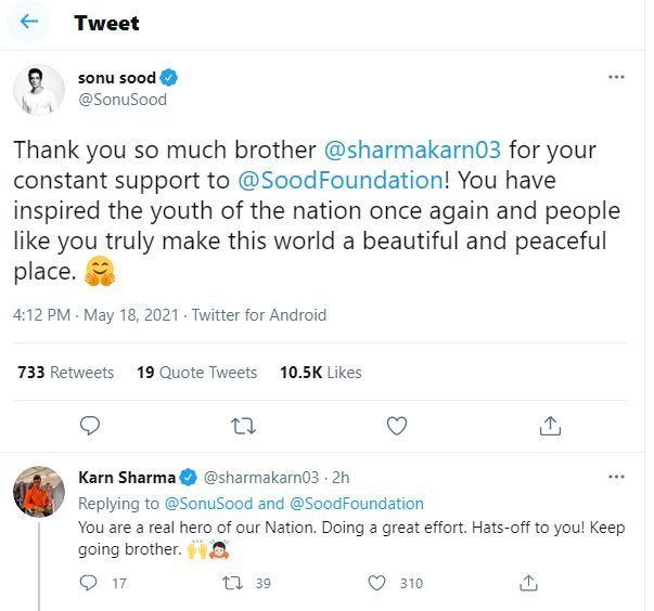 Sonu Sood Karn Sharma twitter