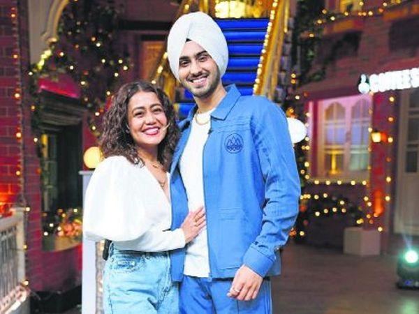 Neha Kakkar and Rohanpreet Singh in The Kapil Sharma Show