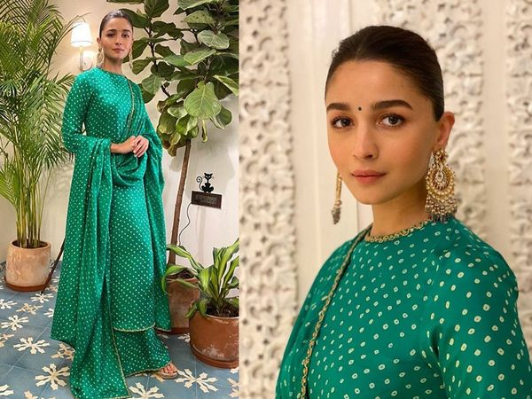 Alia Bhatt Latest Photos: शादी सीजन के लिए परफेक्ट है आलिया भट्ट का ये स्टाइल, हरे पलाजो सूट में दिखाया देसी लुक