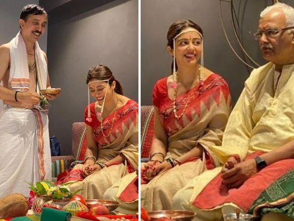Neha Pendse grahmukh pooja picture Viral Bigg Boss 12 Contestant wedding function start